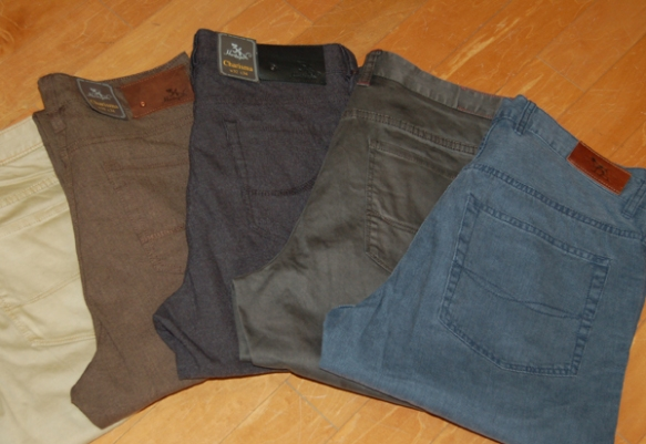 5 pocket pants from 34 Heritage, Rodd & Gunn, and Tommy Bahama