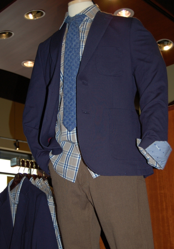 Thaddeus soft coat over Bugatchi shirt and wool Byron necktie with 34 Heritage five pocket pants