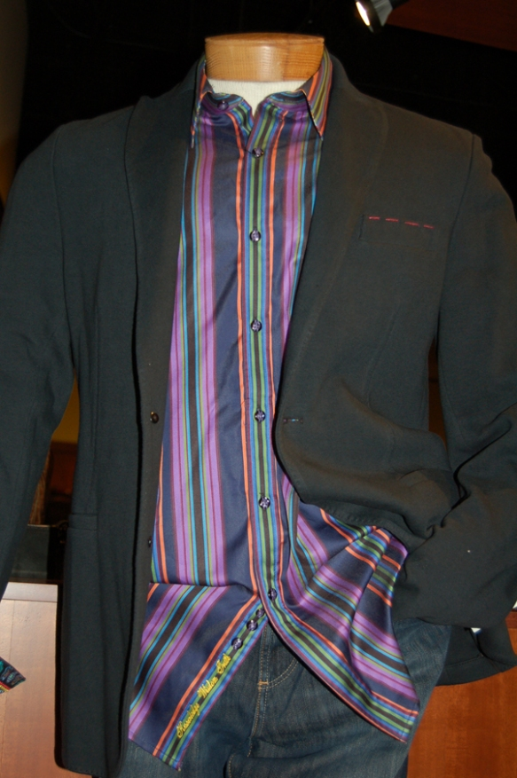 Flynt soft coat and Robert Graham stripe shirt