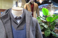 Thaddeus pullover with Flynt tweed soft coat that doubles as an outwear piece.