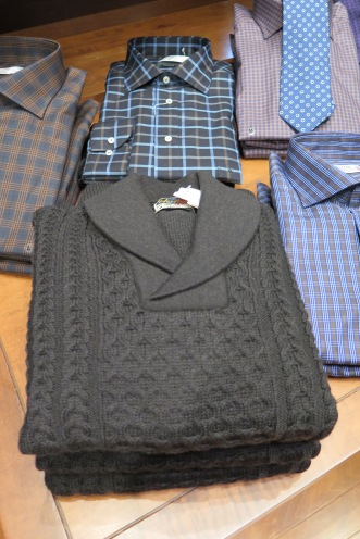 St. Croix Heritage shawl collar sweater.